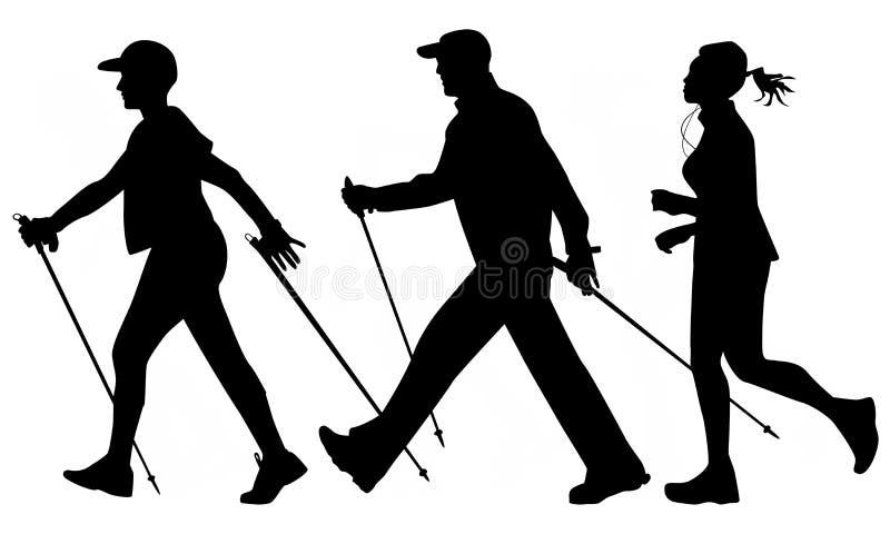 Woman and man are practicing Nordic walking. Joggi stock illustration