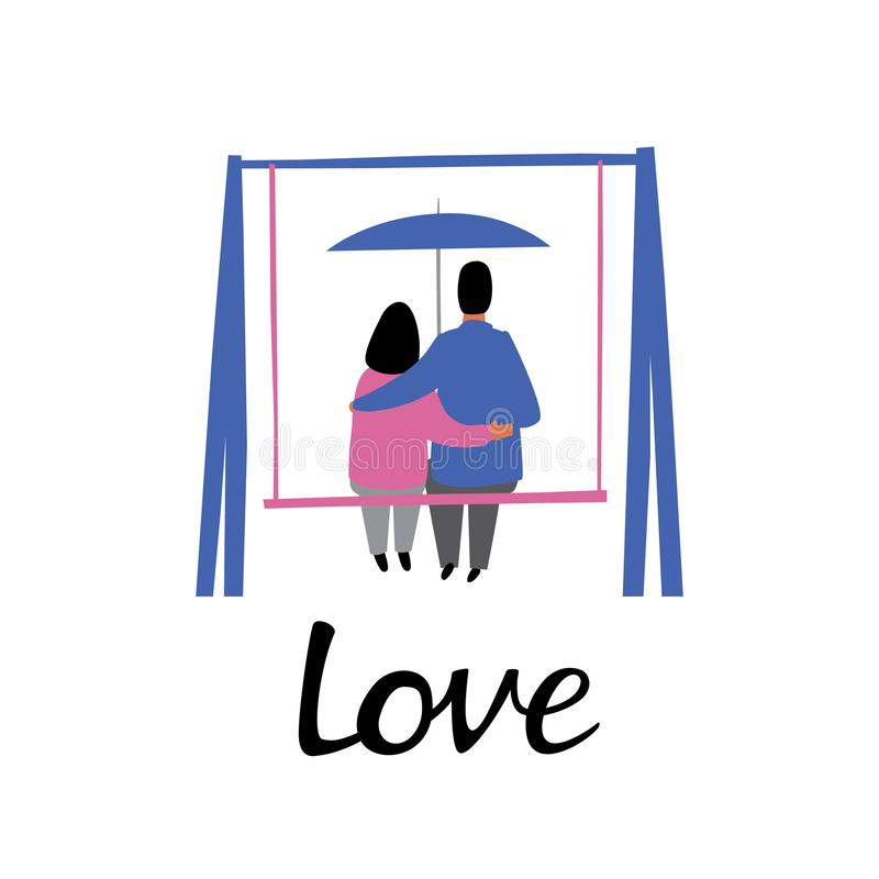 A woman and a man pressed themselves against each other on swings under an umbrella. Inscription love vector illustration