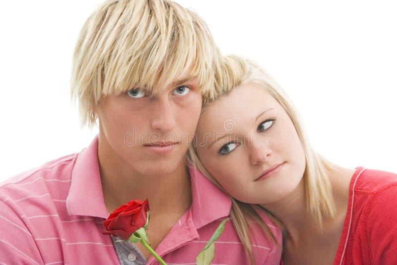 Woman Man And Rose. Royalty Free Stock Photos