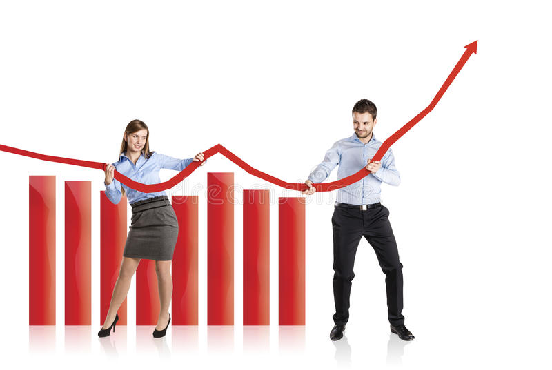 Download Woman And Man With Statistics Curve Stock Image - Image: 34051807
