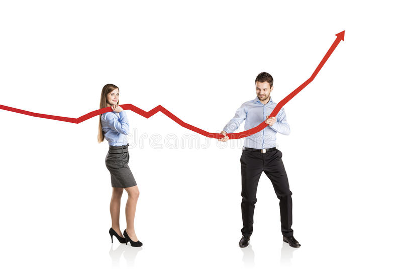 Download Woman And Man With Statistics Curve Stock Photo - Image: 34051816
