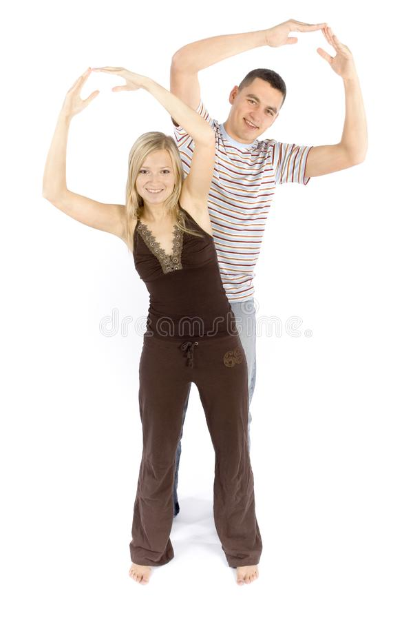 Woman and man train together royalty free stock photo