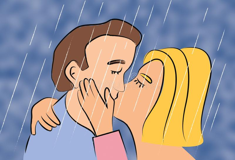 Woman and man two people kissing in rain weather and holding each other. Stock illustration vector illustration