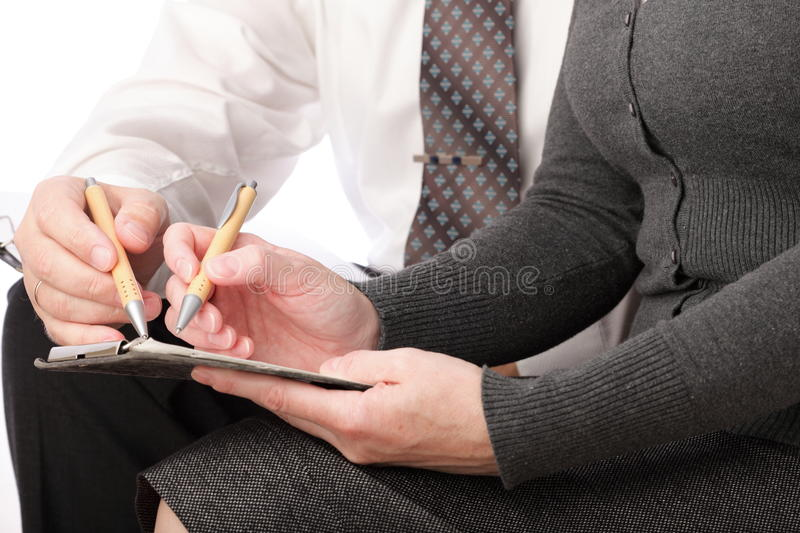 Download Woman And Man Write Pen On Paper Isolated Stock Image - Image: 17245191