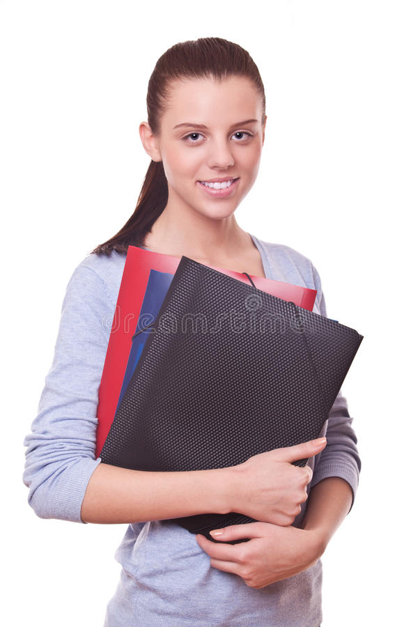 Woman manager or bookkeeper with folders. Smiling woman manager or bookkeeper with folders and documents royalty free stock images