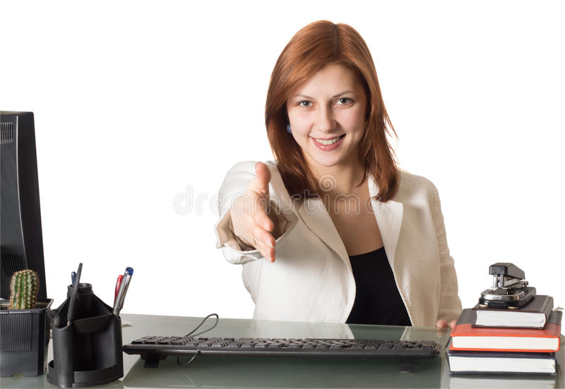 Woman manager reaches out for handshake stock image