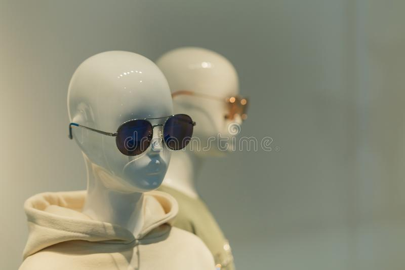 Woman mannequins in fine art style clothes in store,Mannequins,Clothing store,clothes in department stores stock photography