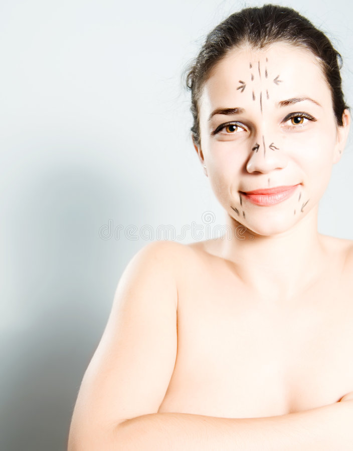 Download Woman Marked For Plastic Surgery Stock Image - Image of medical, exam: 7155963