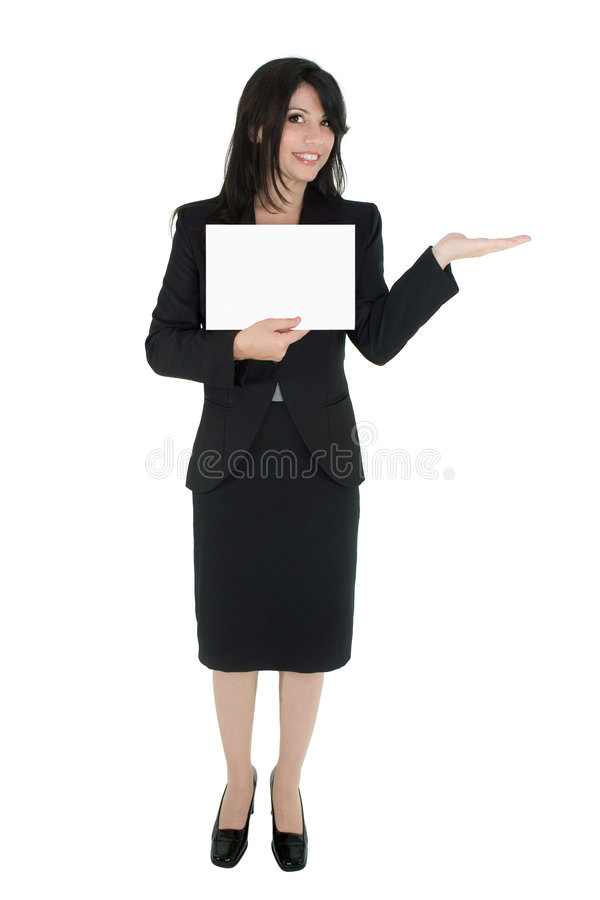 Woman marketing a product royalty free stock photo