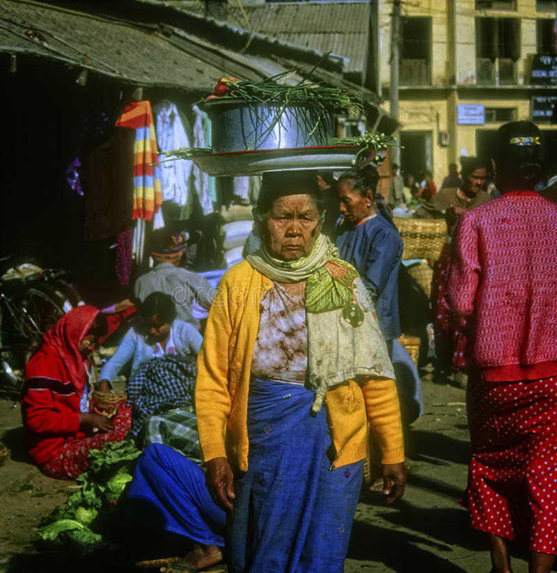 Woman in Marketplace, Yangon, Myanmar royalty free stock images