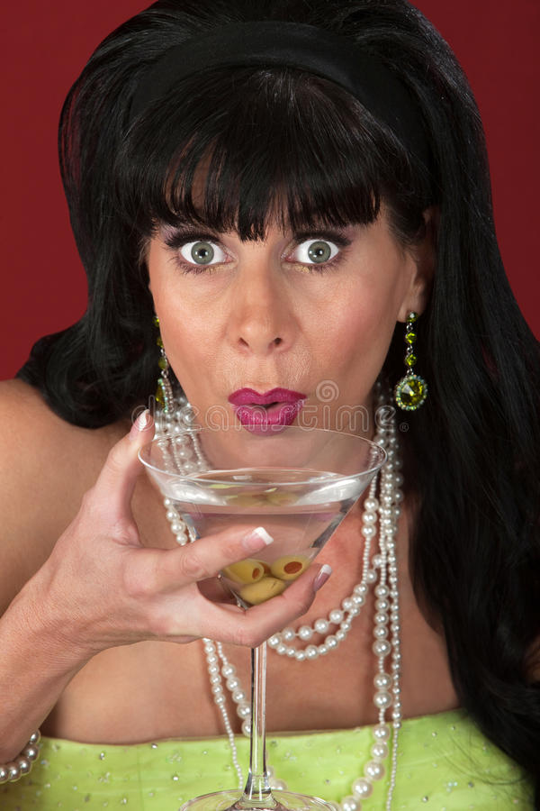Woman With Martini Stock Images