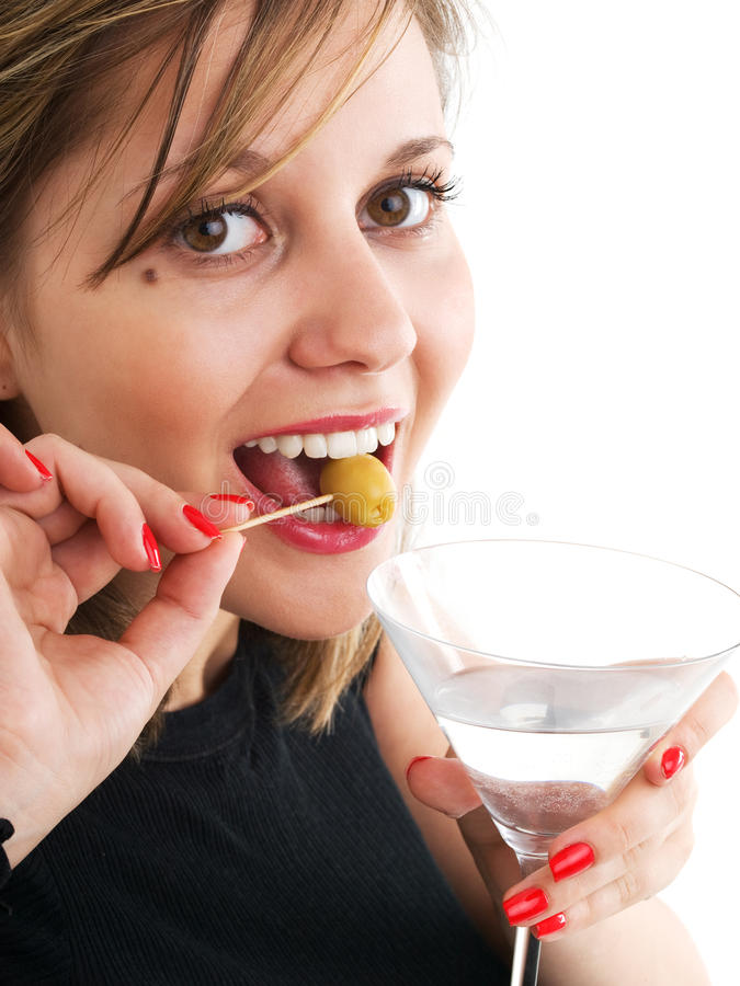 Woman with Martini. Isolated on white background royalty free stock photos