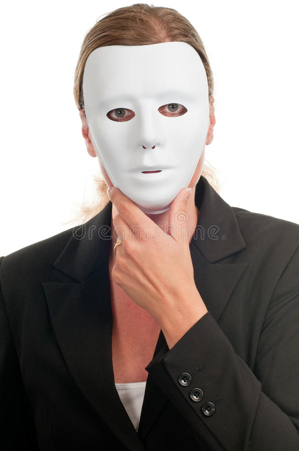 Woman in mask. Business dressed woman in mask isolated on white royalty free stock images