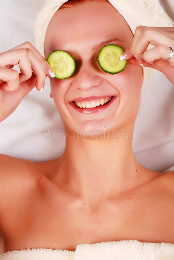 Download Woman In Mask From Cucumber Stock Image - Image: 9059759