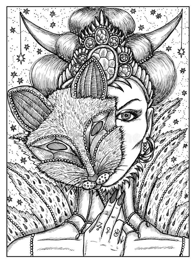Woman in mask of fox. Black and white mystic concept for Lenormand oracle tarot card vector illustration