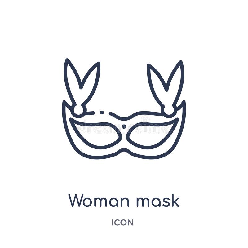 Woman mask icon from party outline collection. Thin line woman mask icon isolated on white background vector illustration