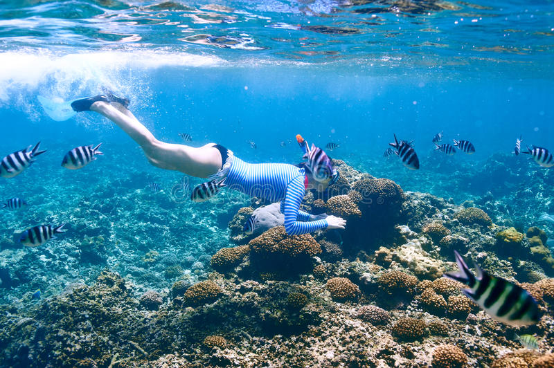 Woman with mask snorkeling stock image