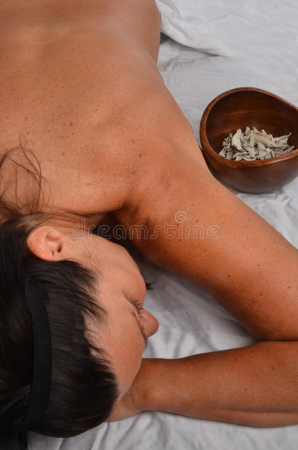 Download Woman on Massage Table stock image. Image of finger, barechestedness - 25377525