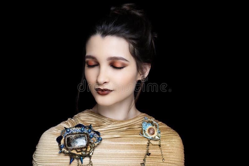 Woman matte brown lipstick stock photos