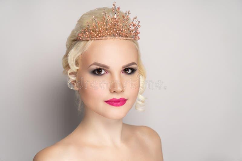 Woman matte pink lipstick royalty free stock photography