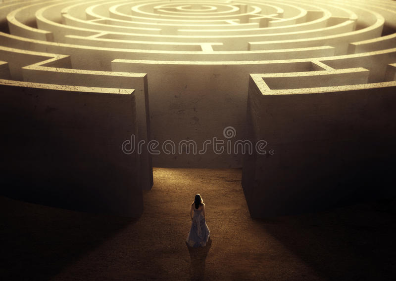 Woman and maze. A woman wearing a dress trying to make her way through a large maze