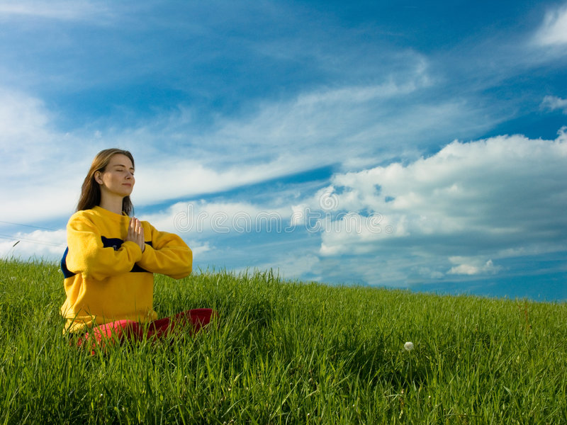 Download Woman in Meadow stock photo. Image of female, clouds, meadow - 2373200