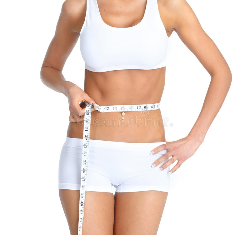 Woman with measure tape. stock photo