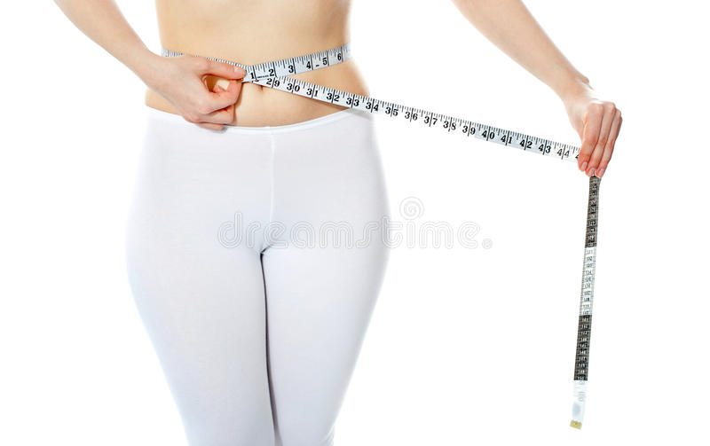 Download Woman Measuring Her Abdomen Stock Photo - Image of shape, bodycare: 25162134