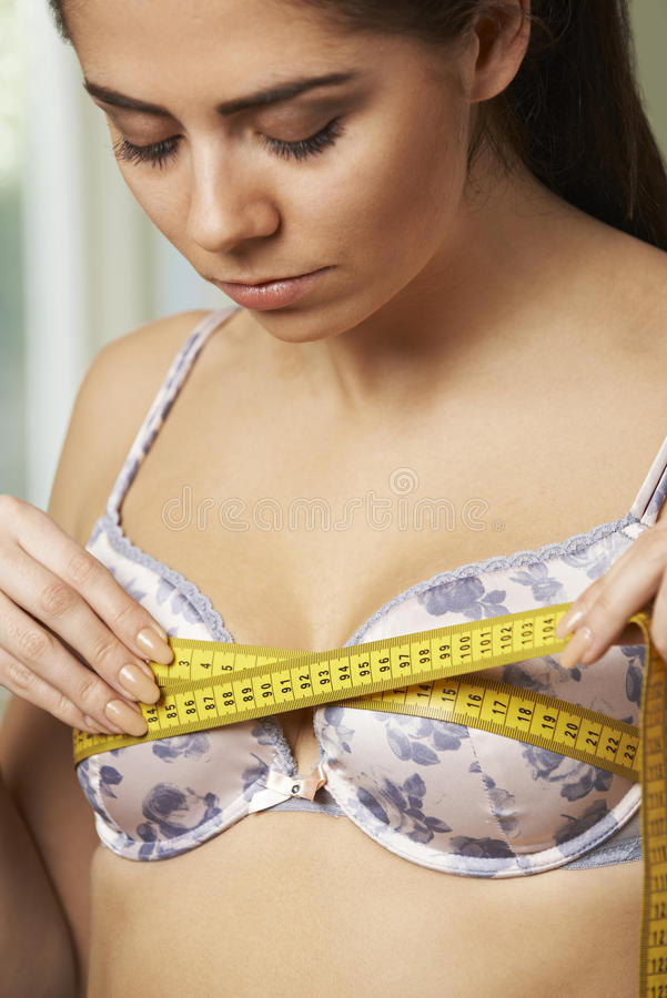Woman Measuring Her Bra Size With Tape Measure Stock Photo ...