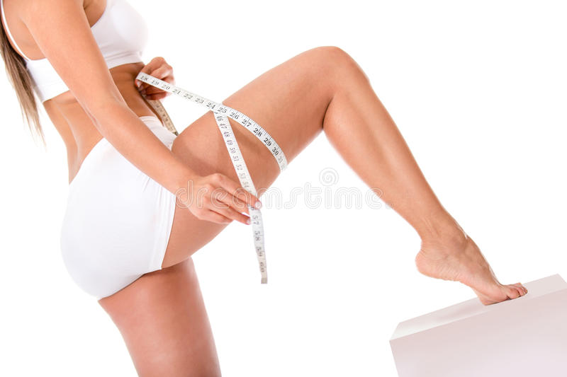 Download Woman measuring her leg stock image. Image of casual - 25565077