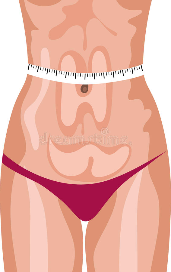 Woman Measuring Her Body Stock Photo