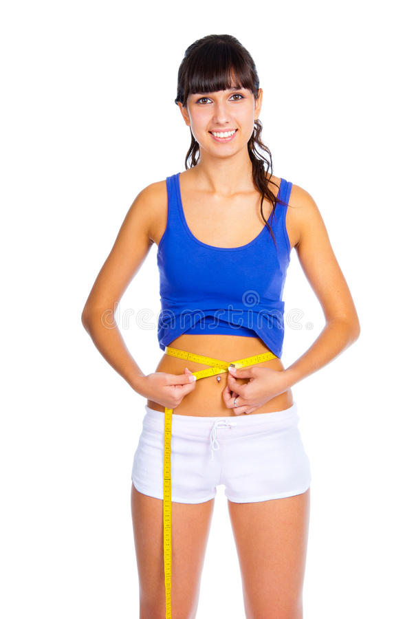 Woman Measuring Her Waist Stock Photography