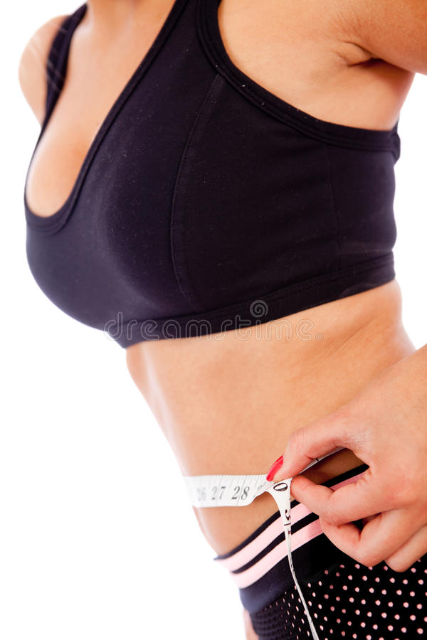 Download Woman measuring her waist stock image. Image of body - 18520199