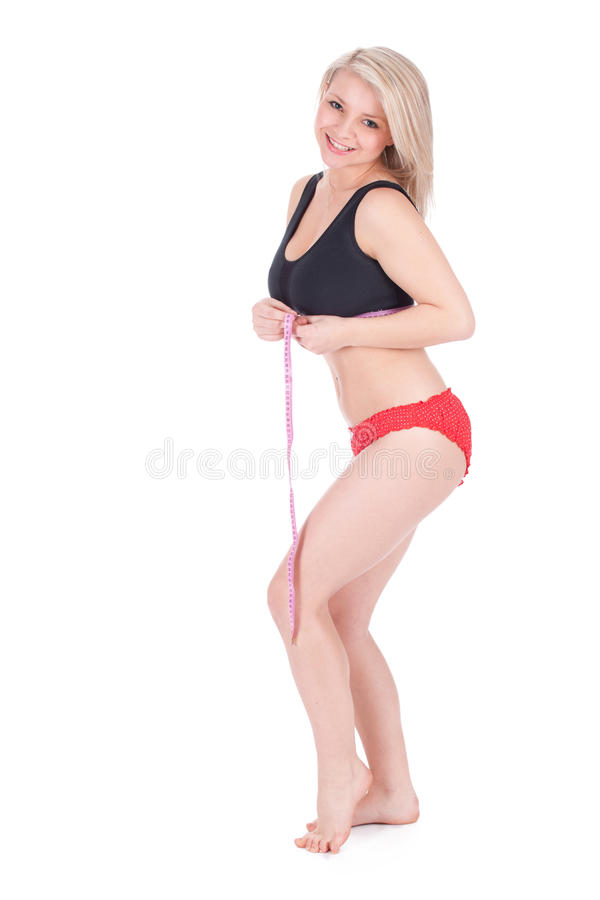 Download Woman measuring her waist stock photo. Image of girl - 20355152