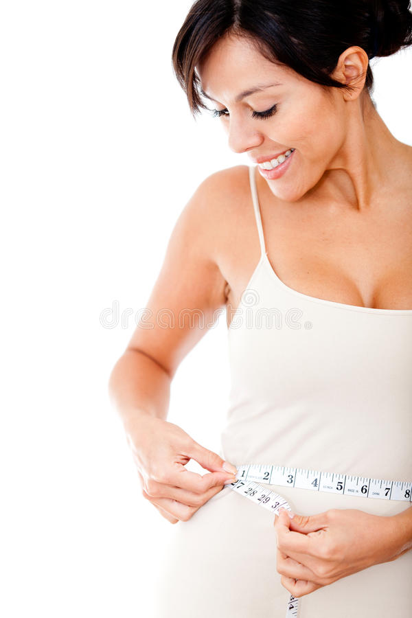 Download Woman measuring her waist stock image. Image of exercise - 23372311