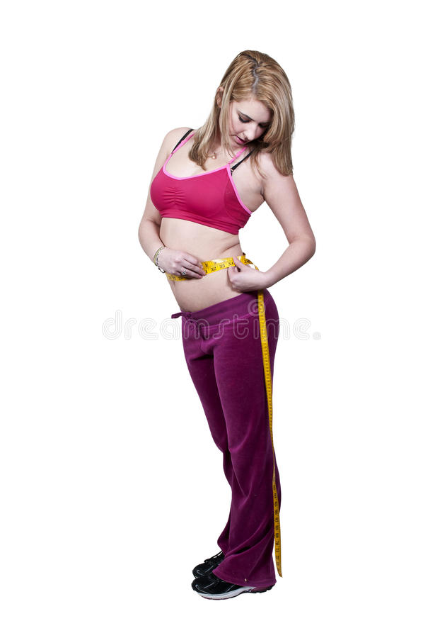 Woman Measuring Her Waist Stock Image