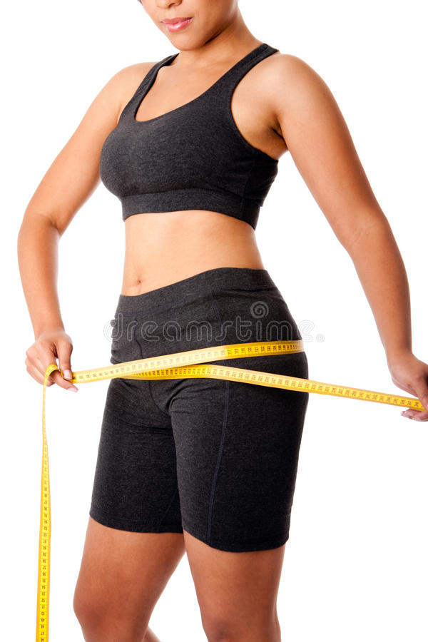 Download Woman Measuring Size Of Thigh Stock Photo - Image: 21306760