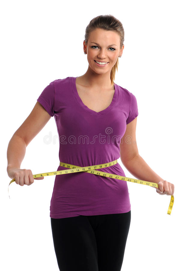 Woman With Measuring Tape Around Waist royalty free stock image