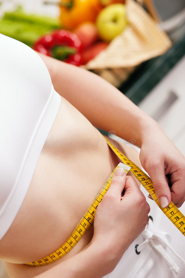 Download Woman Measuring Waist With Tape Stock Image - Image of stomach, body: 15173629