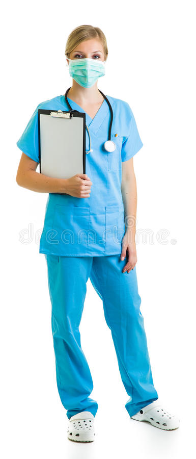 Woman in medical doctor uniform. Holding clipboard isolated on white stock photography
