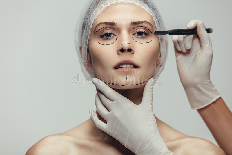 Anti-aging treatment and face lift stock photos