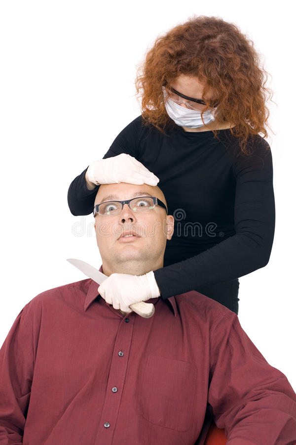 Download Woman In Medical Mask Cutting Throat Man Stock Photo - Image of adult, mask: 11118396