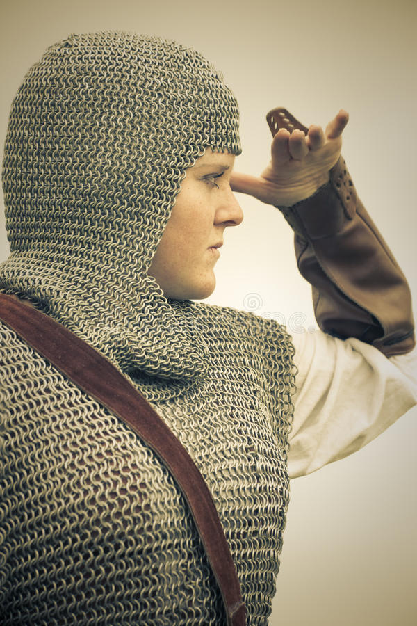 Woman / medieval armor / retro split toned royalty free stock photo