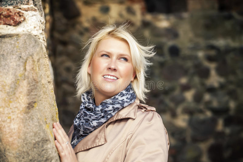 Woman at medieval castle stock images