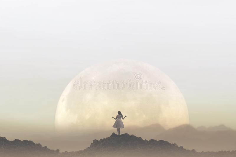 Woman meditates in front of a giant moon stock photos