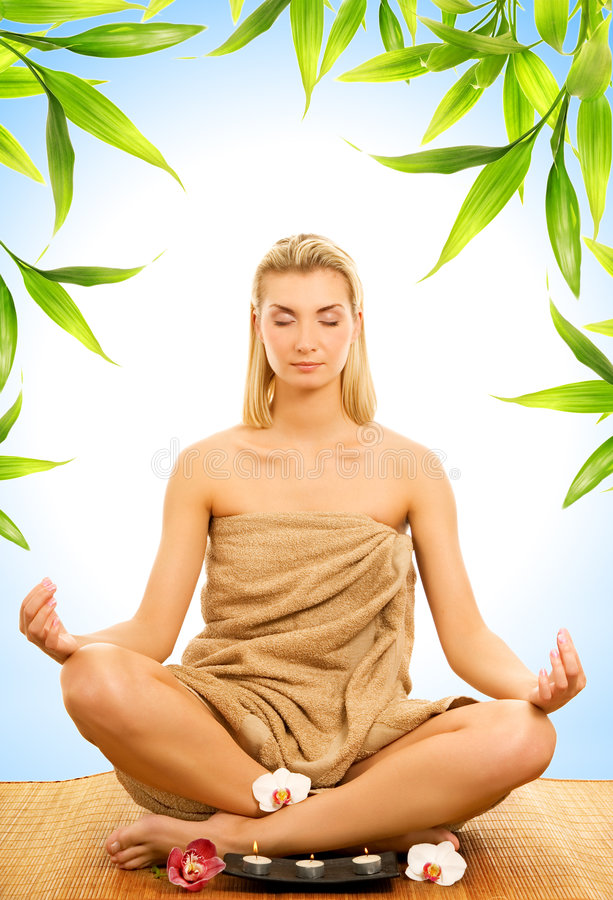Download Woman meditating stock image. Image of flower, female - 5073533