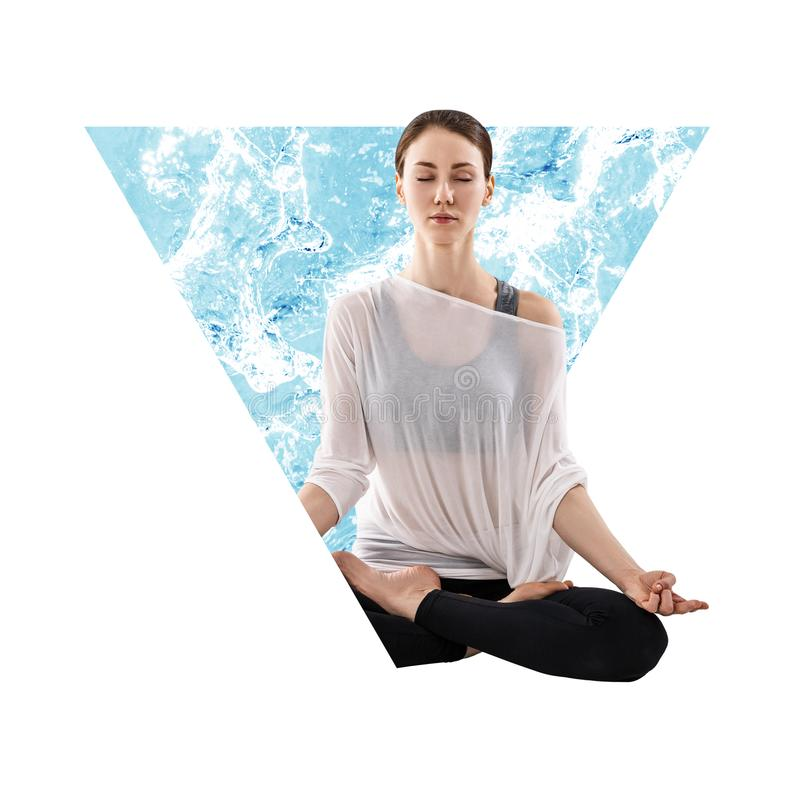 Woman meditating in abstract triangle with water. stock image
