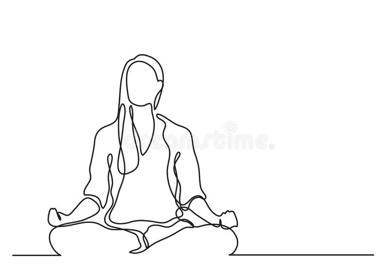 Woman meditating - continuous line drawing vector illustration