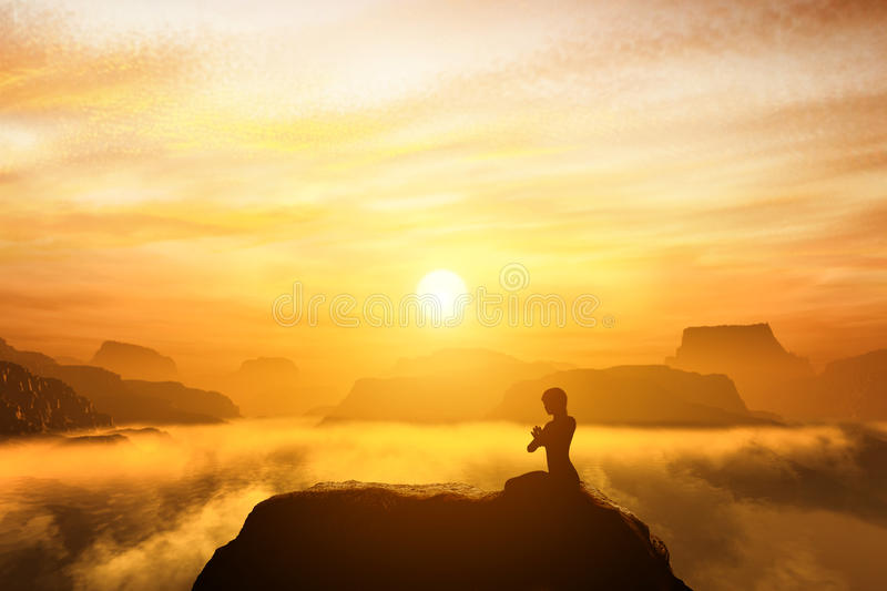 Woman meditating in sitting yoga position on the top of a mountains. Woman meditating in sitting yoga position on the top of mountains above clouds at sunset stock photo
