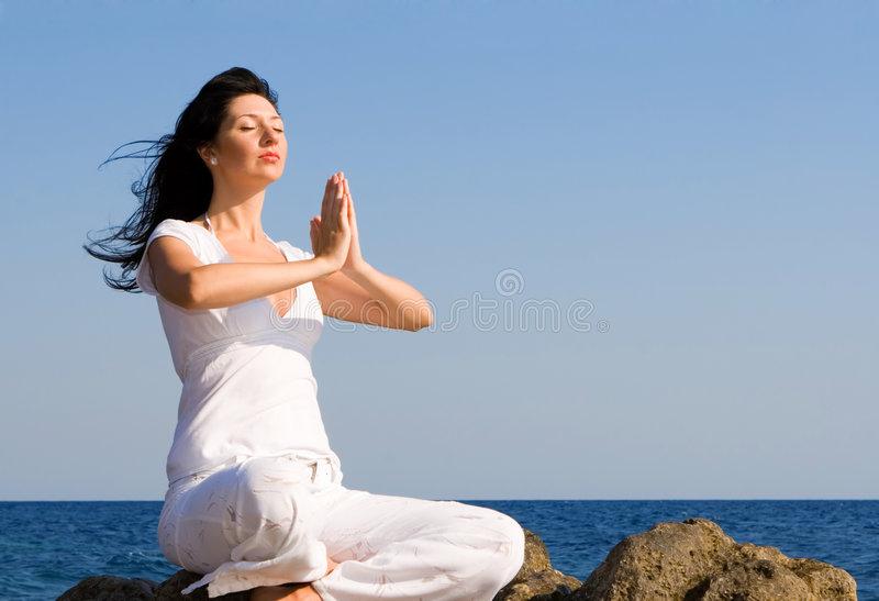 Download Woman Meditation In The Beach Stock Photo - Image of beauty, rest: 6482020